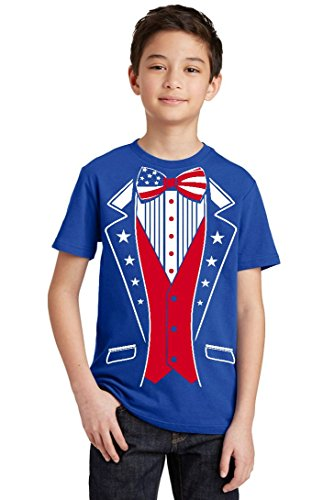 Promotion & Beyond USA Tuxedo Patriotic 4th of July Youth T-Shirt, Youth S, - Tuxedo Juniors T-shirt