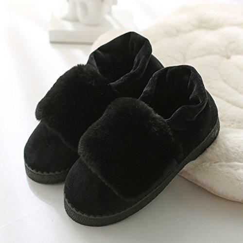 DogHaccd pantofole,Inverno caldo cotone pantofole in camera, spessa antiscivolo pacchetto termale con eleganti scarpe di cotone morbido scarpe di fondo,Nero36-37