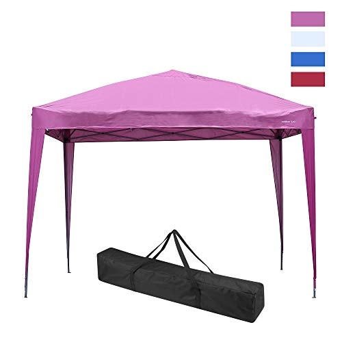 Leisurelife Waterproof 10'x10' Pop Up Canopy Tent with Side-Outdoor Folding Commercial Gazebo Party Tent Pink