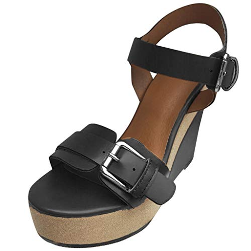 Women's Platform Buckle Sandal - Open Peep Toe Fashion High Wedge Ankle Strap Dress Shoes (Black, US:7.5)