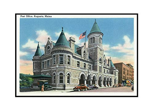 - Augusta, Maine - Exterior View of the Post Office (36x22 3/8 Framed Gallery Wrapped Stretched Canvas)
