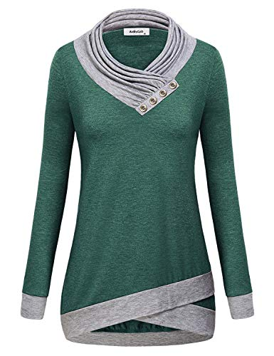 AxByCzD Womens Tunics to Wear with Leggings,Misses Form Fitting Blouse Long Sleeve Vneck Lightweight Sweatshirt Splice Color Block Flared Hem Plain Shirts Pullover Vacation Leisure Daily Wear Green L