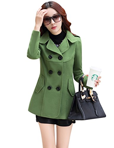 Tanming Women's Double Breasted Wool Blend Pea Coat (Large, Green) Breasted Suit Coat