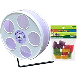 CritterTyme Mouse Wheel: 8 inch Transoniq Wodent Wheel Junior, White with Lavender Track and Ware Rice Pops-Small Animal Treat