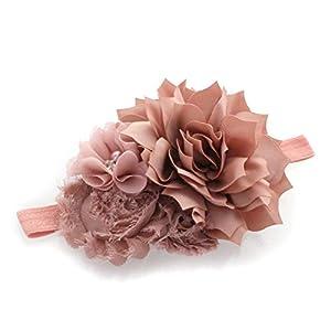 My Lello Shabby Fabric Flower Cluster Headbands Baby - Girls - Toddler Stretchy Elastic