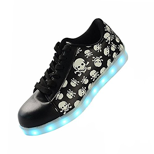 DoGeek Led Light up Shoes Skull Light up Sneakers Womens Trainers 7 Colors (5.5 B(M) US, Black) ()
