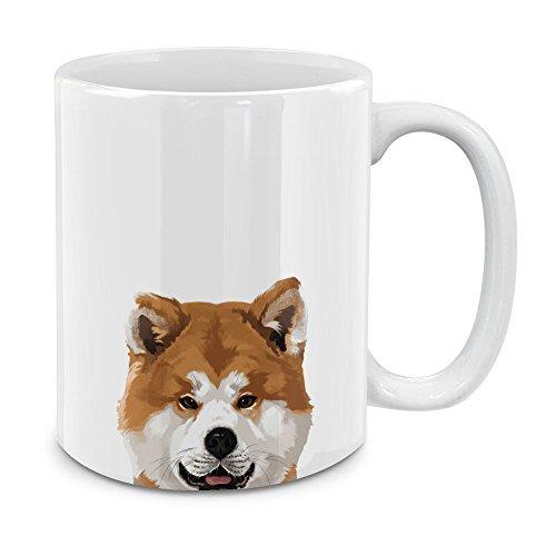 MUGBREW Akita Inu Puppy Dog White Ceramic Coffee Mug Tea Cup, 11 OZ (Akita Coffee Mug)