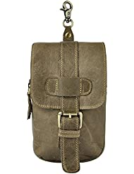 Leaokuu Men Leather Small Hook Fanny Waist Belt Bag Designer Male Cigarette Phone Case Outdoor Pouch
