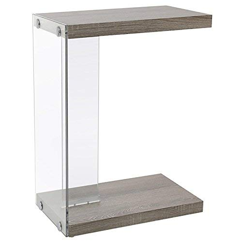 Monarch Specialties I I 3217 Tempered Glass Accent Table 19quot L x 11quot W x 24quot H Dark Taupe