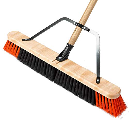 Push Broom 24 inches Wide 54 inches Long Medium Rigidity Professional Indoor Outdoor Garage Heavy Duty Sweeping Supply