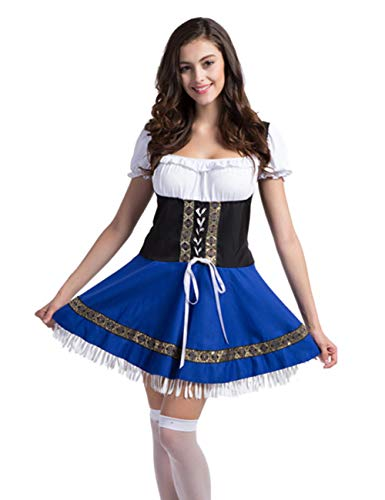 Colorful House Womens Oktoberfest Beer Maid Fancy Dress Costume (X-Large, Blue) -