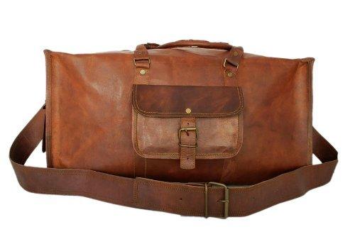 Chanasya 22-Inch Genuine Leather Square Travel Duffel Bag-Brown with free Chanasya microfiber cloth