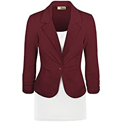 Women's Casual Work Office Blazer Jacket JK1131 350 Wine L