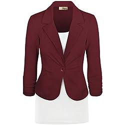 Women's Casual Work Office Blazer Jacket JK1131 350 Wine L