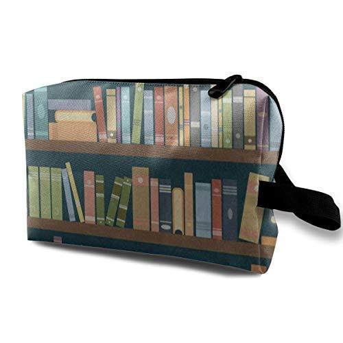 Makeup Bag Cartoon Bookshelf Bookworm Portable Travel Multifunction Clutch Pouch Bags Fantastic Holder for Women