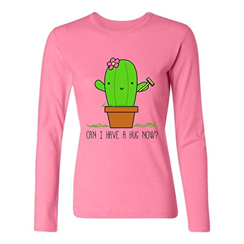 Kittyer Women's Cactus Hug Me Long Sleeve Cotton T Shirt (Lil Cactus Girls compare prices)