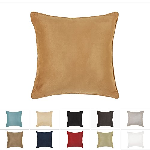 DreamHome 18 X 18 Inches Tan Color Faux Suede Decorative Pillow Cover, Throw Pillow Case with Hidden Zipper, Super Soft High Quality Faux Suede On Both Sides (Pillow Groupings Throw)