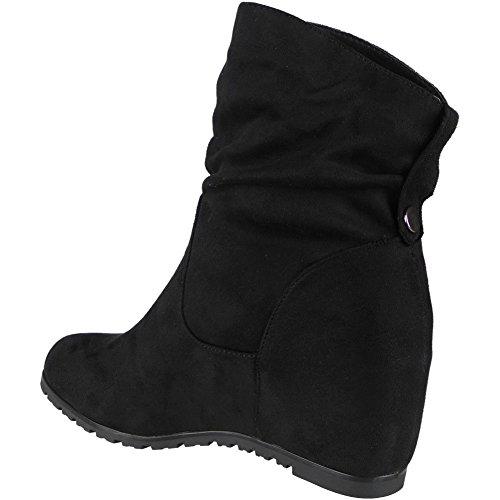 8 trabajo 3 tobillo Suede de casual damas para botas Nuevas Faux negro cuña mujer oculta qFOWSw