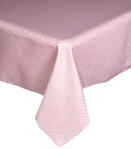 (Lintex Chelton Beehive Weave Jacquard Fabric Tablecloth Easy Care Stain Resistant and Water Repellent Indoor and Outdoor Solid Color Tablecloth - 70 Inch Round, Dusty Rose)