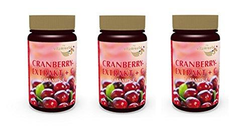 3er Pack Vita World Cranberry Extrakt 400mg + Vitamin C 180 Vegi Kapseln Apotheken Herstellung