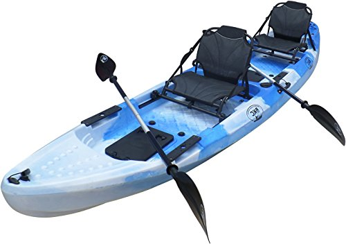 Brooklyn Kayak Company BKC UH-TK29 13-Foot 1-inch Tandem 2 Person Sit On Top Fishing Kayak with 2 Up-Right Seats and 2 Paddles Included (BluCamo)