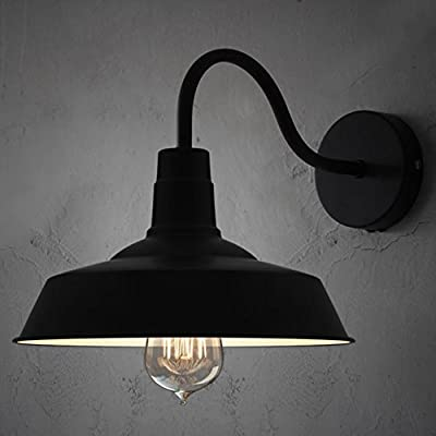 BayCheer HL371794 Industrial Retro style Aluminum Barn Warehouse Wall Sconce Wall Lamp Modern Lighting for Restaurant 1 Light, Black