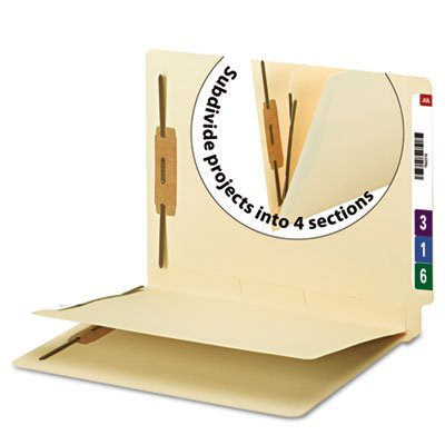 Smead End Tab Fastener File Folder with Divider, Shelf-Master Reinforced Straight-Cut Tab, 2 Fasteners, 1 Divider, Letter Size, Manila, 50 per Box  (34220) (Folders End Smead Tab)