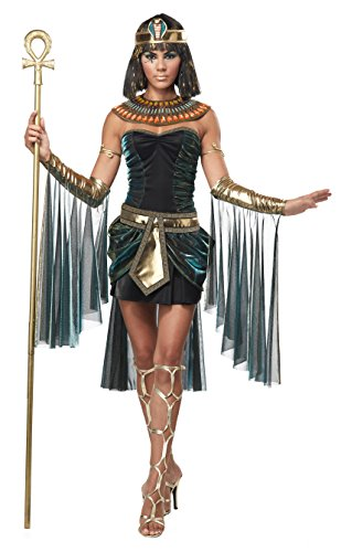 California Costumes Women's Adult Egyptian Goddess Costume and Staff, Black/Teal, Large (Egyptian Women Costume)
