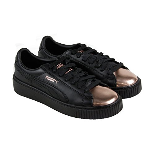 PUMA Womens Basket Platform Metallic Black Rose Gold 9 M US