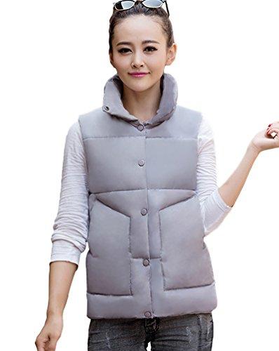 Grigio Yiiquan Colore Il Imbottitura Gilet Solido Outwear Tempo Gilet Invernale Donne Libero Alla Colletto Coreana Delle wvCqxZB