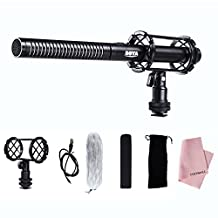 BOYA BY-PVM1000 Pro Broadcast-Quality Interview Shotgun Microphone with Foam Windscreen & Shock Mount 3 Pin XLR Output for Canon 6D 600D 700D 5D2 5D3 Nikon D800 Sony Panasonic Camcorders