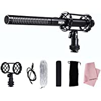 BOYA BY-PVM1000 Pro Broadcast-Quality Interview Shotgun Microphone with Foam Windscreen & Shock Mount & Cleaning Cloth 3 Pin XLR Output for Canon 6D Nikon D800 Sony Panasonic Camcorders