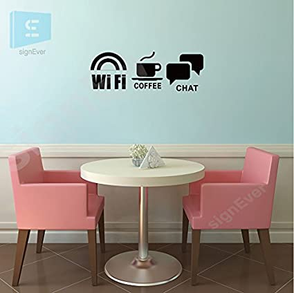 Signever Wifi Coffee Chat Business Signs Wall Sticker For Glass