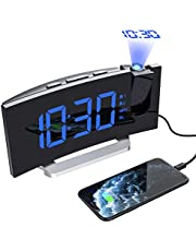 Mpow Wecker Digital, LED Wecker, Reisewecker, Radiowecker mit Projektion, Projektionswecker, Tischuhr, Projektionsuhr, 5'' LED-Anzeige, Dual-Alarm, 6 Helligkeit, 4 Alarmton mit 3 Lautstärke,9 ' Snooze