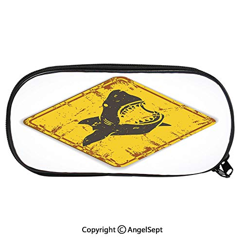 1599D Printing Pattern Pencil CaseCaution Shark Sign Sharp Teeth Animal Ocean Danger Do Not Swim Illustration Decorative for Children Teenager Pen Box Pencil Pouch Desk for Boys and GirlsEarth Yellow ()