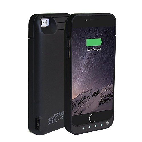 BSWHW 4200mAh Battery fee Cover for iPhone 5/5s/5c Battery Charger Rechargeable electricity condition Battery by means that of  Built-in Kickstand,For iPhone 5/5s/5c External electricity Bank condition Backup Protection Case-black