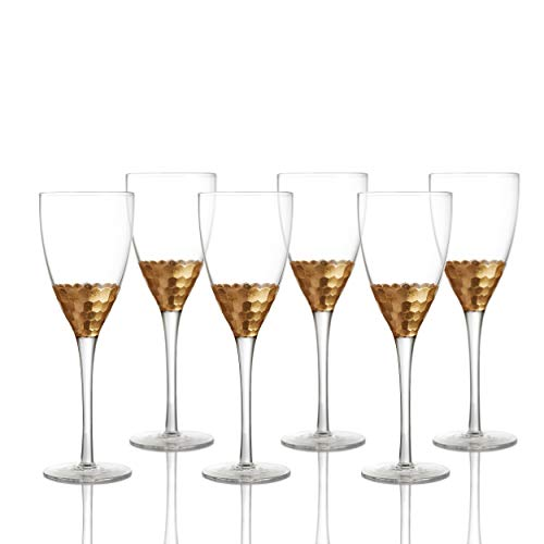 Fitz and Floyd Goblets Wine Glass Set of 6 - Elegant Lead-free Matching Drinkware Perfect For Everyday Use Or Entertaining - Stylish Modern Glasses Make An Ideal Gift For Weddings, Birthdays, Holidays -