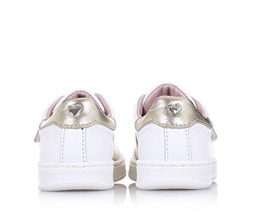 TWIN-SET - Weißer und goldener Schuh, aus Leder, mit Klettverschluss, hinten ein Herzchen mit Logo, Mädchen