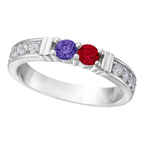 NANA Shared Prong w/side stones Couples 2 stones Ring wit...
