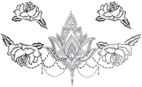 Tatuajes Temporales Flores De Loto Grande Etiqueta Engomada Del ...