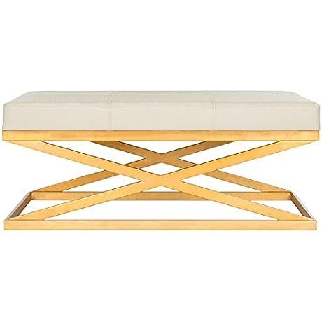 Alexes Faux Ostrich Bench Creme Gold FOX6252A