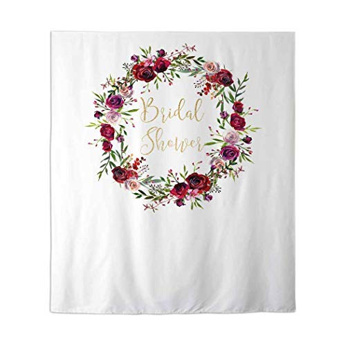 Allenjoy 50x60in Floral Bridal Shower Photo Backdrop Red Rose Wreath Wedding Decor Decoration Future Mrs. Custom Photobooth Engagement Party Banner Support Custom