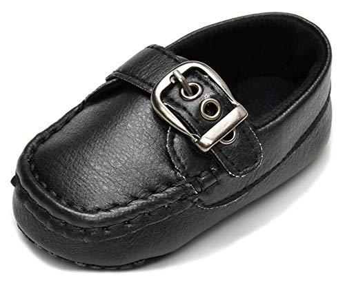 Anrenity Baby Loafer Infant Toddler Boys Girls Soft Slip On Dress Flat Boat Shoes Prewalker Moccasin DDX-002BK Black 6-12 Months