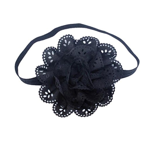 [Baby Girl Headband,Womail Flower Turban Hair Band Headband (Black)] (50s Wig)