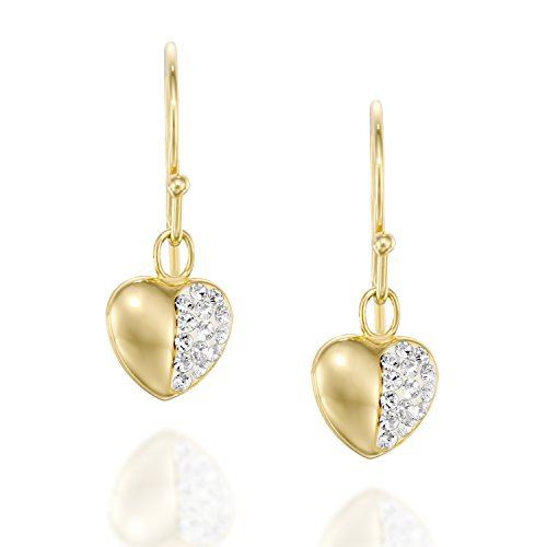 Pave Heart Earrings Made with Swarovski Crystals Great for Girls Teens - 18K Gold Plated Silver -