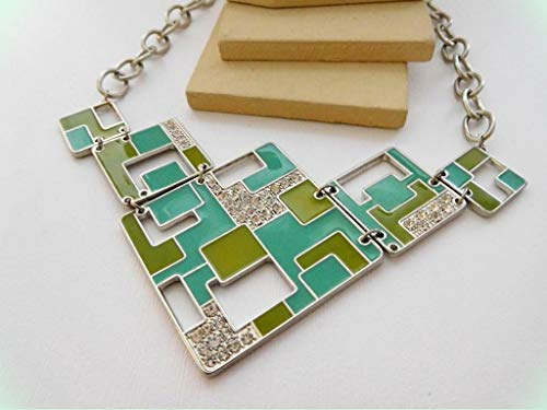 Green Turquoise Blue Enamel Rhinestone Art Deco Design Statement Necklace for Women UU21