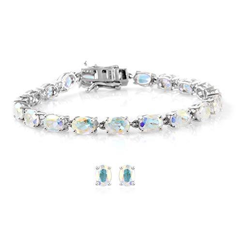 Stud Solitaire Earrings Bracelet Set 925 Sterling Silver Oval Mercury Mystic Coated Topaz Gift Jewelry for Women Size 7.25