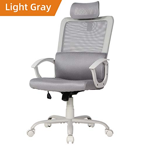 Ergonomic Office Chair Adjustable Headrest Mesh Office Chair Office Desk Chair Computer Task Chair (Light Gray) ()