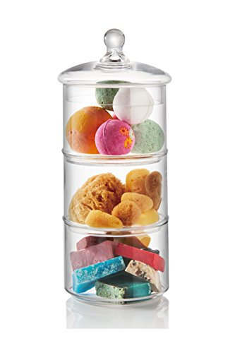 3 Tier Candy - 3-Tier Stacking Glass Apothecary Jar/Round Glass Storage Canisters for Kitchen and Bathroom D7XH16.5