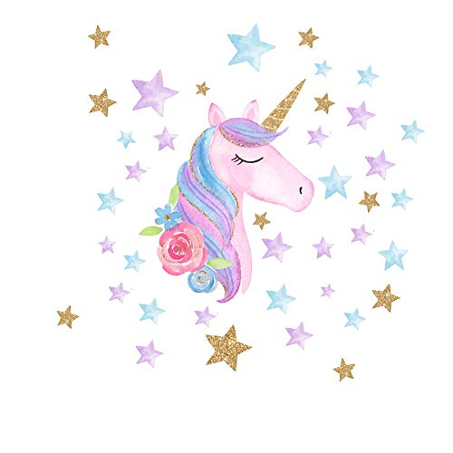 AIYANG Unicorn Wall Stickers Rainbow Colors Wall Decals Reflective Wall Stickers for Girls Bedroom Playroom Decoration (Pink,Right)